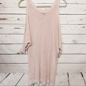 Express sweater, pink open knit cold sweater